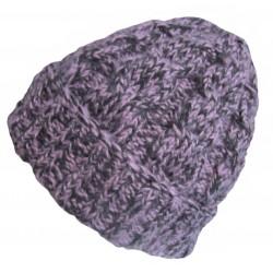 Ručně pletená dámská čepice ANTARES ORIGINÁL, Fialová/černá
