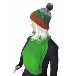 Ručně pletený dámský set RIGEL ORIGINÁL, Zelená/hnědá/šedá
