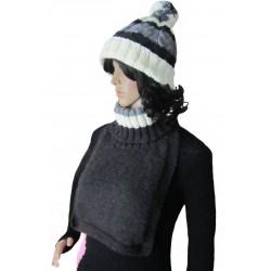 Ručně pletený dámský set ALAMAK ORIGINÁL, Tmavě šedá/smetanová/šedá