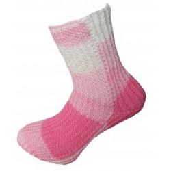 Ručně pletené ponožky HADAR ORIGINÁL, 4-5,Růžová/Bílá