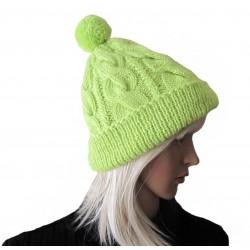 Ručně pletená dámská čepice GRUMIUM ORIGINÁL,Zelená