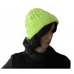 Ručně pletená dámská čepice GOMEISA ORIGINÁL,Zelená