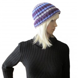 Ručně pletená dámská čepice HAMAL ORIGINÁL, Fialová/šedá/modrá