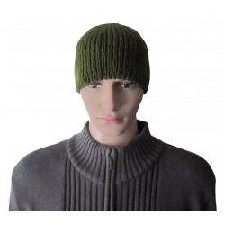 Ručně pletená pánská čepice KAUS ORIGINÁL, Khaki