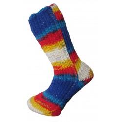 Ručně pletené podkolenky MIJAS ORIGINÁL,12, Bílá/modrá/červená/žlutá