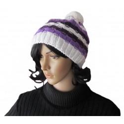 Ručně pletená dámská čepice NASH ORIGINÁL, Fialová/bílá