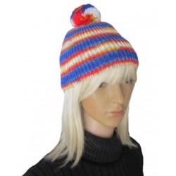 Ručně pletená dámská čepice MIRAM ORIGINÁL, Červená/modrá/bílá/žlutá