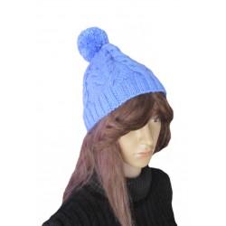 Ručně pletená dámská čepice RANA ORIGINÁL, Modrá