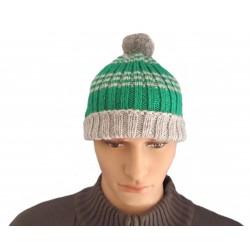 Ručně pletená pánská čepice BOREAS ORIGINÁL,Zelená/šedá