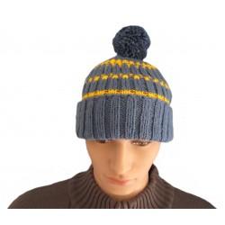 Ručně pletená pánská čepice DIKÉ ORIGINÁL,Modrá/žlutá