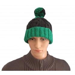 Ručně pletená pánská čepice GAIA ORIGINÁL, Zelená/černá