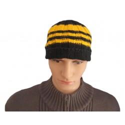 Ručně pletená pánská čepice XEXOR ORIGINÁL, Černá/žlutá