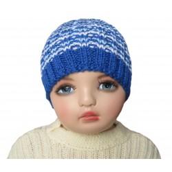 Ručně pletená dětská čepička TOM ORIGINÁL, Tm. modrá/bílá/sv. modrá