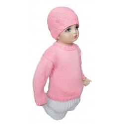 Ručně pletený dětský svetřík s čepičkou FIFINKA ORIGINÁL, ,Růžová