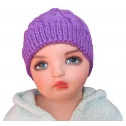 Ručně pletená dětská čepička FIONA ORIGINÁL, Fialová