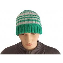 Ručně pletená pánská čepice VAOL ORIGINÁL,Zelená/šedá