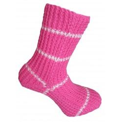 Ručně pletené ponožky ZIANOR ORIGINÁL, 37-38, Světlý cyklámen/bílá