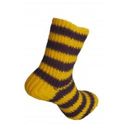 Ručně pletené ponožky ZOSMA ORIGINÁL,6-7,Sžlutá/Tfialová