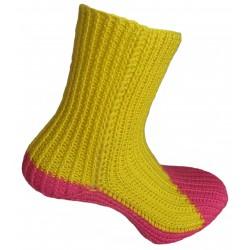 Ručně pletené ponožky DAMARA ORIGINÁL,8-9,5,Žlutá/Melounová