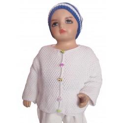 Ručně pletený dětský svetřík DONGTAI ORIGINÁL,104 ,Bílá