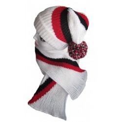 Ručně pletený dámský set OTTAWA ORIGINÁL, Bílá/černá/červená
