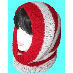 Ručně pletený loop-šál SOFIE ORIGINÁL,UNI,Bílá/červená