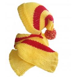 Ručně pletený dámský set OPAVA ORIGINÁL,žlutá/červená