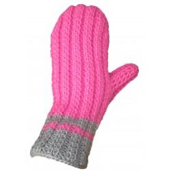 Ručně pletené rukavice RICHMOND ORIGINÁL,5,Růžová/šedá