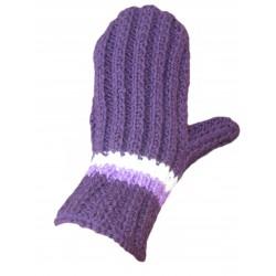 Ručně pletené rukavice HEZE ORIGINÁL,7,Tm.fialová/sv.fialová/bílá