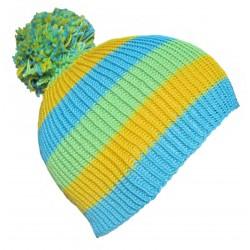 Ručně pletená dámská čepice VALENCIA ORIGINÁL, Modrá/žlutá/zelená