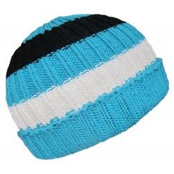 Ručně pletená dámská čepice FERRARA ORIGINÁL,Modrá/bílá/černá