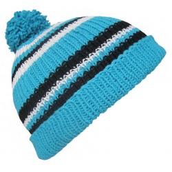 Ručně pletená dámská čepice Foggia ORIGINÁL,Modrá/bílá/černá