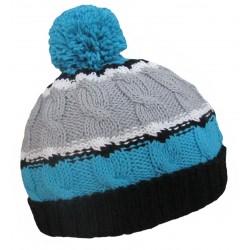 Ručně pletená dámská čepice PERUGIA ORIGINÁL,Modrá/bílá/černá/šedá